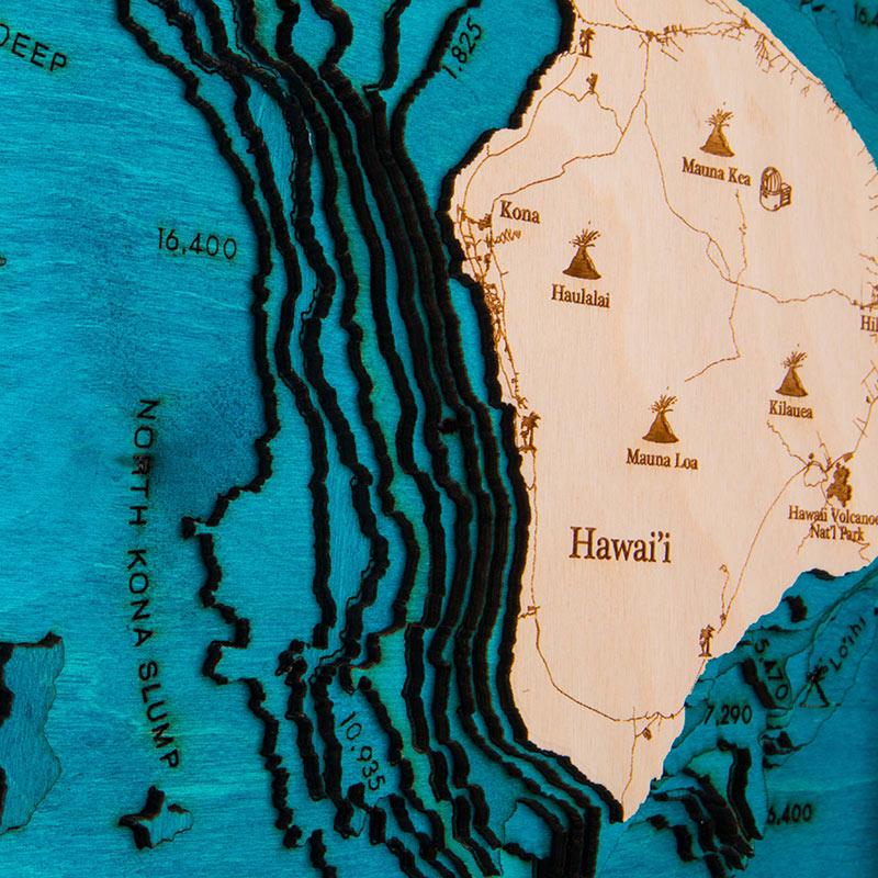 Hawaiian Islands 3D Wood Map - Trunk Show